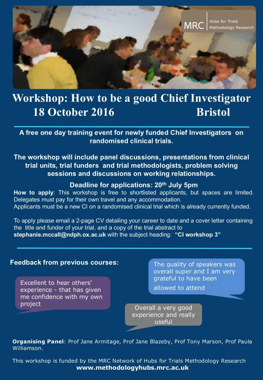Free workshop: How to be a good Chief Investigator, 18 Oct, Bristol ...